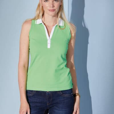 Ladies' Elastic Polo Sleeveless